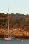 Sailboat At Sunrise - Giannutri Island, Italy — Stock Photo