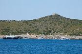 Boats On Giannutri Island Coast — Stock Photo