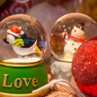 Christmas Crystal Snow Globes — Stock Photo