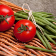 Tomatoes And Green Beans - Foto Stock