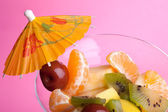 Fruit Salad On Pink — Stock Photo