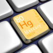 Keyboard (detail) with Mercury element — Stock Photo