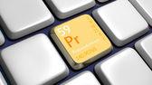 Keyboard (detail) with Praseodymium element — Stock Photo