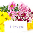 Beautiful bouquet of yellow chrysanthemums — Stock Photo #6757518
