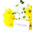 Beautiful bouquet of yellow chrysanthemums — Stock Photo #6757724
