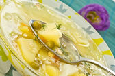 Vegetable soup with green peas — Stock Photo