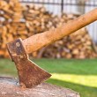 Axe with wooden deck — Stock Photo