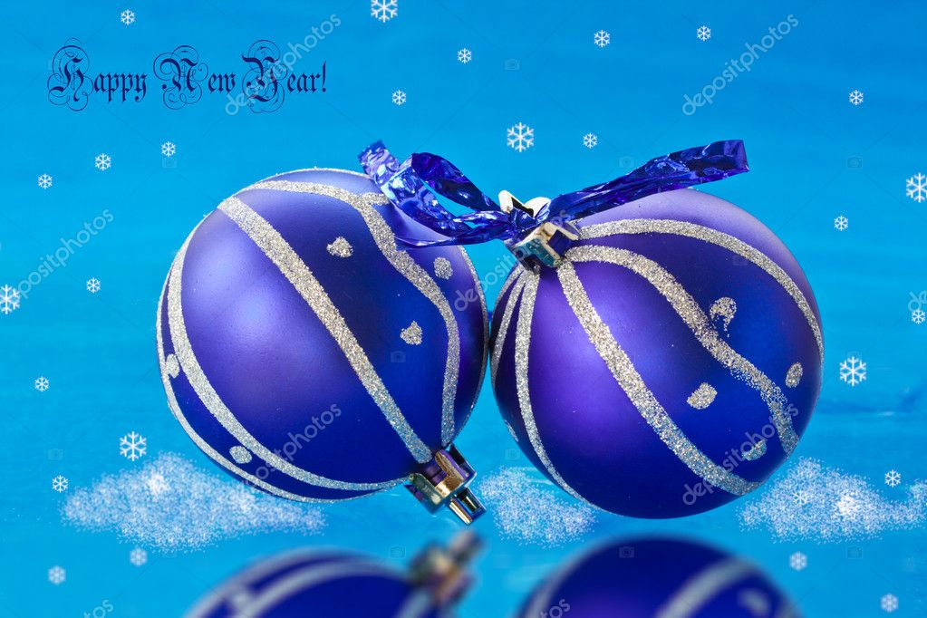 New Year's ball on a blue background — Stock Photo #7729282