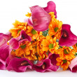 Bouquet of calla lilies and orange chrysanthemums — Stock Photo #7816144