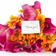 Bouquet of calla lilies and orange chrysanthemums — Stock Photo #7816175