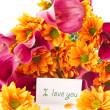 Bouquet of calla lilies and orange chrysanthemums — Stock Photo