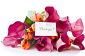 Bouquet of calla lilies and tulips — Stock Photo