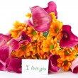 Bouquet of calla lilies and orange chrysanthemums — Stock Photo #7844095