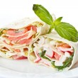Pita stuffed with fish — Stock Photo