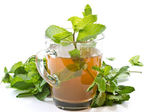 Green tea with mint — Stock Photo