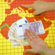 World economic crisis - money in hand — Foto de Stock