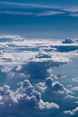 Nice view to cloud sky from airplane window — Stock Photo
