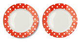 Round plate with red border isolated on white with clipping path — Stock Photo
