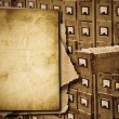 Old documents heap over archive cabinet  background — Stock Photo