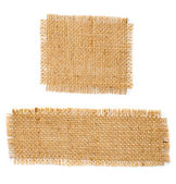 Burlap hessian square and rectangle with frayed edges isolated o — Stock Photo