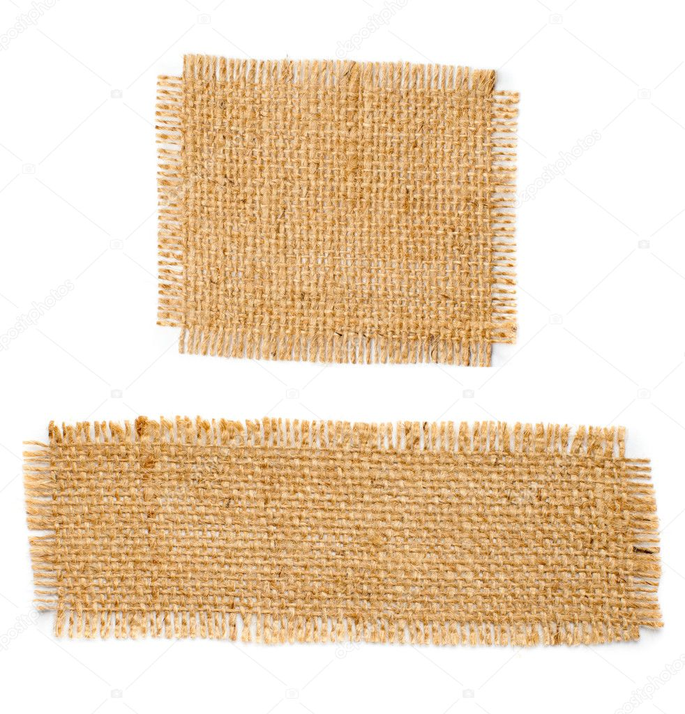 Burlap hessian square with frayed edges isolated on white background — Stock Photo #7204051
