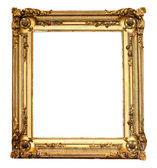 Real old antique gold frame isolated on white — Stock Photo
