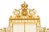 Isolated golden gate fragment of Versailles king's palace near P — Stock Photo