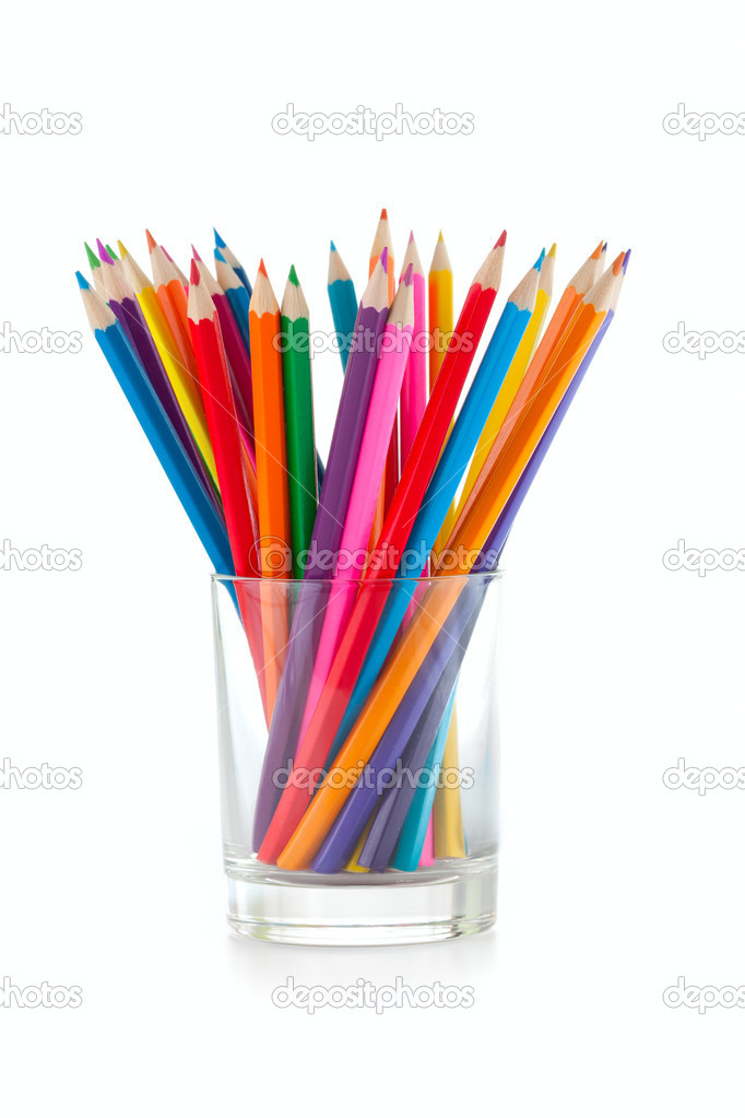 Color pencils pile in glass isolated — Stock Photo #7285582