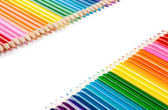 Assortment of color pencils isolated on white — Stock Photo