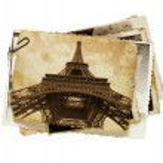 Vintage sepia toned postcard of Eiffel tower in Paris — Stock Photo