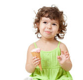 Little girl with ice cream in studio isolated — Stock Photo