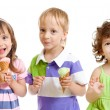 Happy children with ice cream in studio isolated — Foto de Stock