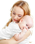 Happy young mother and baby in her hands — Stock Photo