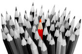 Leadership concept - bunch of gray pencils with red one — Stock Photo