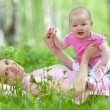 Mother and daughter in birch spring park — Stock Photo #7470027