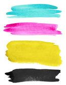 Watercolor strokes on white paper — Stock Photo