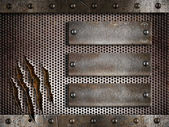 Three rusty plates over metal holed or perforated grid backgroun — Stock Photo
