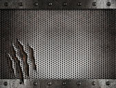 Metal damaged grate background — Stock Photo
