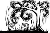 スパイラル ツリー墓 — ストックベクタ