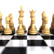 Stock Photo: White chess game pieces