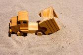Toy Dump Truck Dumping Sand — Stock Photo