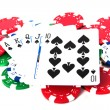 Royal Straight Flush With Poker Chips — Stock Photo