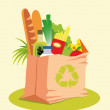 Grocery Bag with Food — Stock Vector