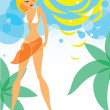 Girl on the Beach — Stock Vector #7505374