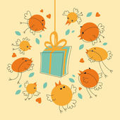 Birds Gift — Vector de stock