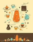 Juego de café — Vector de stock