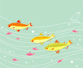 Flock of Fishes — Stock Vector