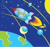 Rocket in Space — Stockvektor