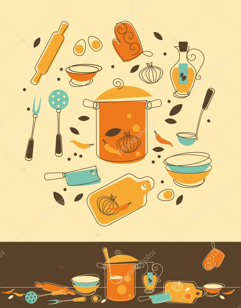 Kitchen set stock vector evellean 7518177 for Kitchen set vector