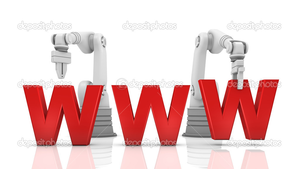 Industrial robotic arms building WWW word on white background  Stock Photo #7289379